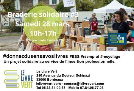 28 mars 2020 - 3e Braderie solidaire par le Le Livre Vert