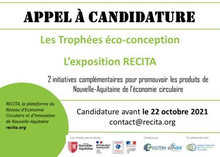 APPEL À CANDIDATURE 2021 -EXPOSITION RECITA &TROPHÉES ECO-CONCEPTION Nouvelle-Aquitaine