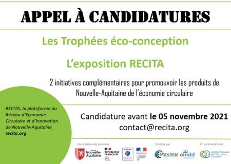 CANDIDATEZ AVANT LE 05 NOVEMBRE -EXPOSITION RECITA &TROPHÉES ECO-CONCEPTION Nouvelle-Aquitaine