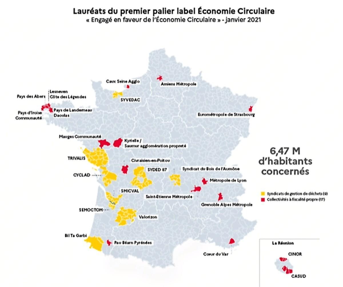 TERRITOIRES LAUREATS DU LABEL ECONOMIE CIRCULAIRE DE L'ADEME [2021]