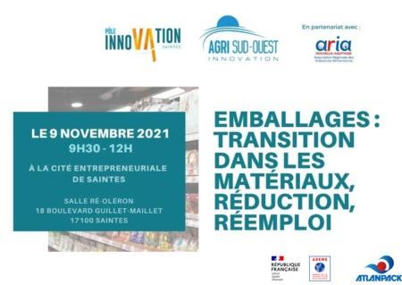 Rencontre le 9 Novembre 2021 à Saintes - Emballages : transition dans les matériaux, réduction, réemploi