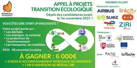 Appel à projets transition écologique de Bordeaux Technowest : Candidatez avant le 1er novembre 2021 !